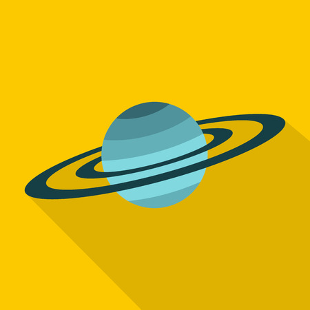 neptuno: Saturn icon. Flat illustration of Saturn vector icon for web isolated on yellow background