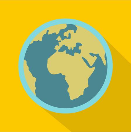 青い惑星地球アイコン。黄色の背景に分離された web の惑星地球ベクトル アイコンのフラットの図