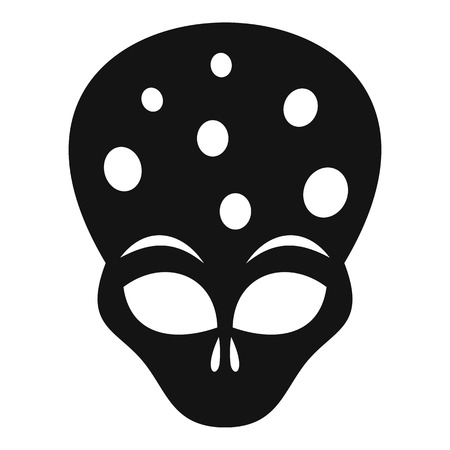 ufology: Extraterrestrial alien head icon. Simple illustration of alien head vector icon for web