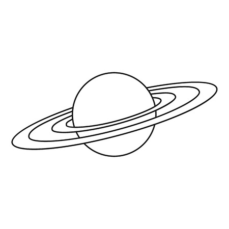 saturn rings: Saturn planet icon. Outline illustration of Saturn planet vector icon for web