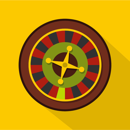 Casino gambling roulette icon. Flat illustration of casino gambling roulette vector icon for web isolated on yellow background Illustration
