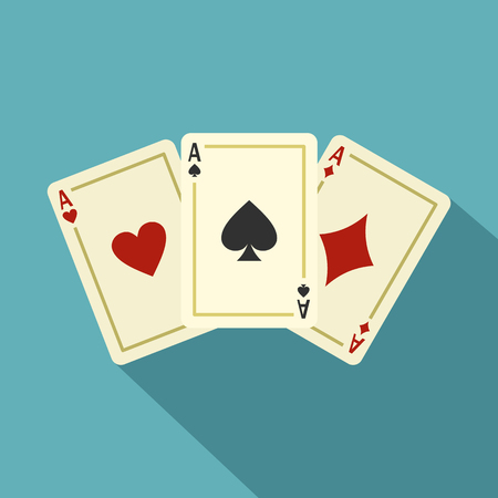 Aces playing cards icon. Flat illustration of aces playing cards vector icon for web isolated on baby blue background