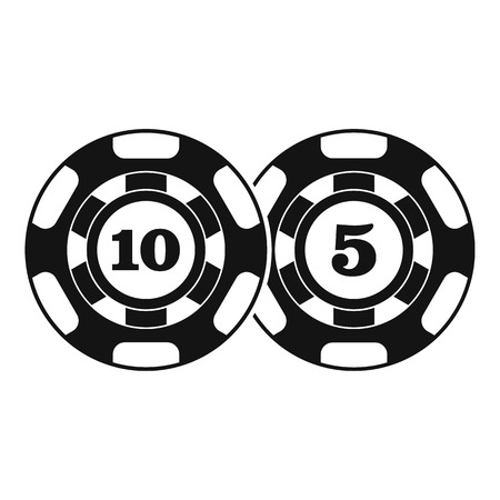 token: Poker chips nominal five and ten icon. Simple illustration of poker chips nominal five and ten vector icon for web Illustration