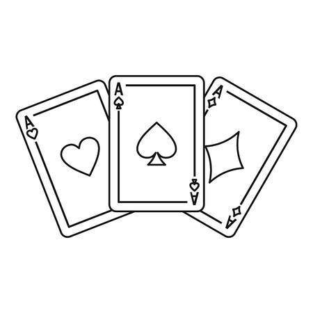 straight flush: Playing cards icon. Outline illustration of playing cards vector icon for web