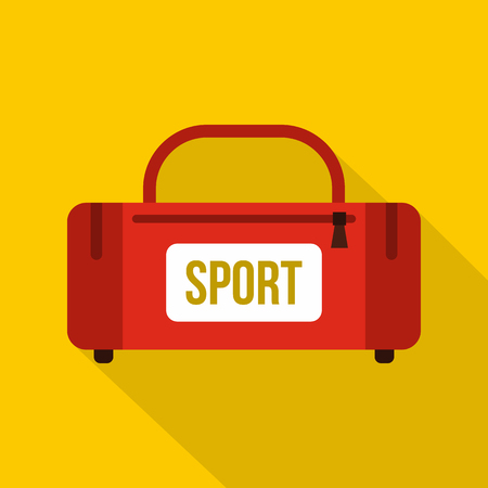 duffel: Red sports bag icon. Flat illustration of sports bag vector icon for web isolated on yellow background