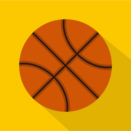 Orange basketball ball icon. Flat illustration of basketball ball vector icon for web isolated on yellow background Illustration