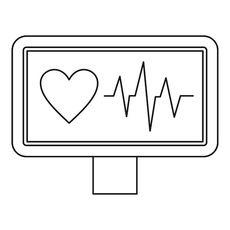 pulsating: ECG monitor icon. Outline illustration of ECG monitor vector icon for web