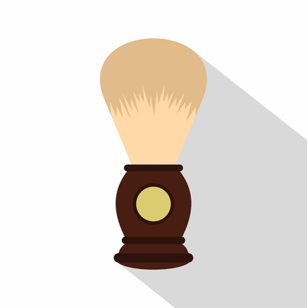 personal grooming: Wooden shaving brush icon. Flat illustration of wooden shaving brush vector icon for web isolated on white background