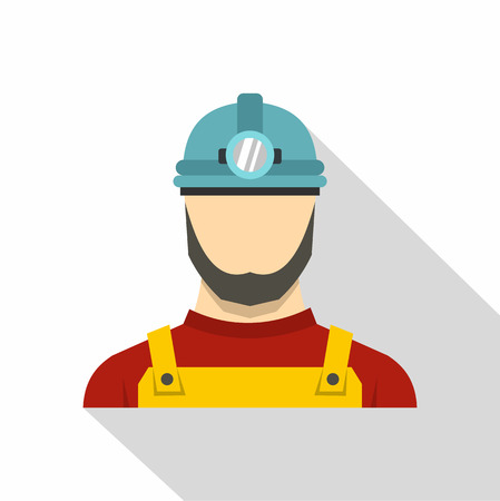 Male miner icon. Flat illustration of male miner vector icon for web