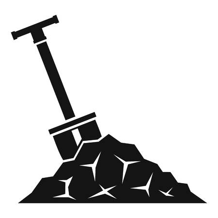 Shovel in coal icon. Simple illustration of shovel in coal vector icon for web