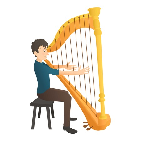 Man plays on harp icon. Flat illustration of man plays on harp vector icon for web Illustration