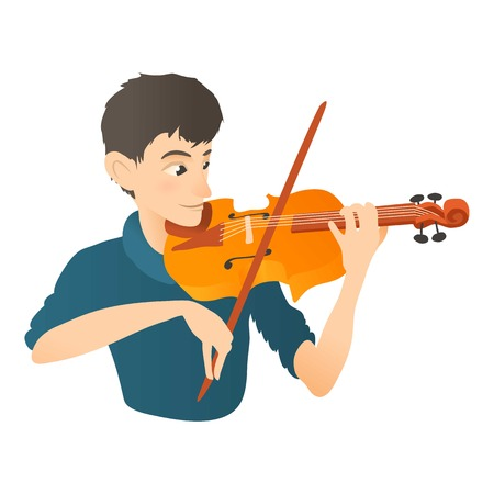 Man plays on violin icon. Flat illustration of man plays on violin vector icon for web Illustration