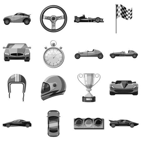 Car racing icons set. Gray monochrome illustration of 16 car racing vector icons for web Illustration