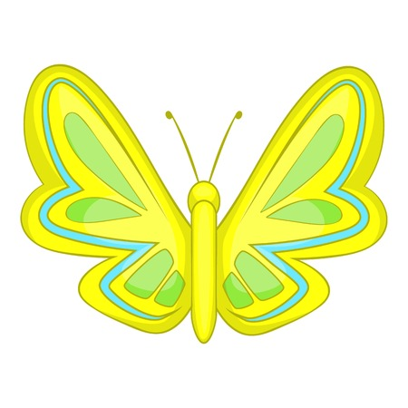 Yellow butterfly icon. Cartoon illustration of butterfly vector icon for web design