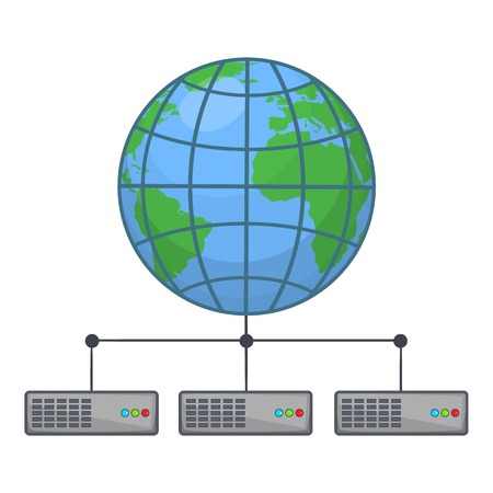 Global storage network icon. Cartoon illustration of clobal storage vector icon for web design Illustration