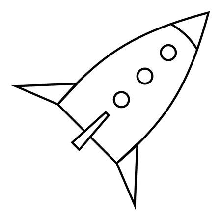 Rocket De Espacio Para El Icono De La Mosca. Esquema De Ilustración ...
