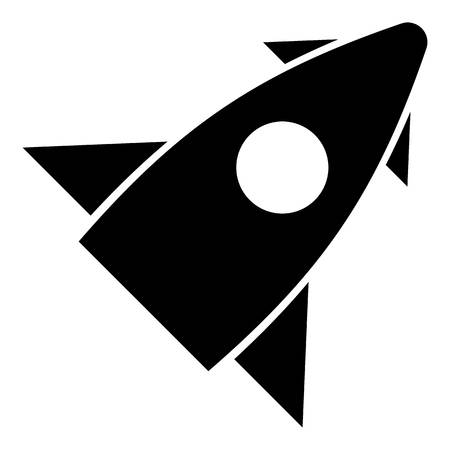 Rocket with one portholes icon. Simple illustration of rocket with one portholes vector icon for web