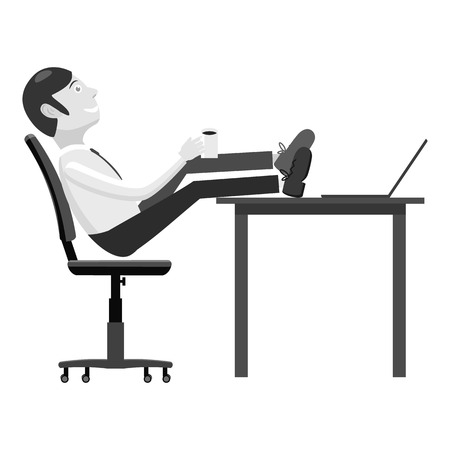 sits: Manager sits on chair and feet on table icon. Gray monochrome illustration of manager sits on chair and feet on table vector icon for web Illustration