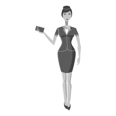 flight crew: Stewardess icon. Gray monochrome illustration of stewardess vector icon for web