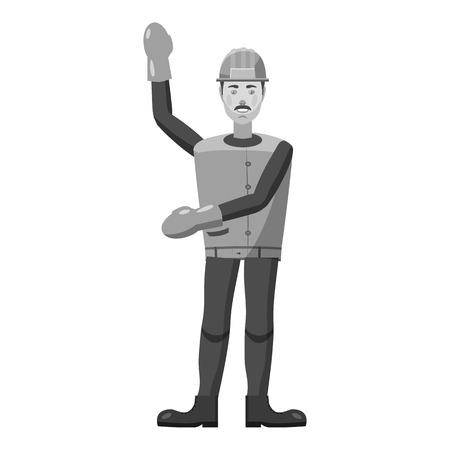 prospector: icono de la minera. ilustración en blanco y negro gris del icono del vector de la minera para la web