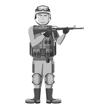 infantryman: Infantryman with weapons icon. Gray monochrome illustration of infantryman with weapons vector icon for web