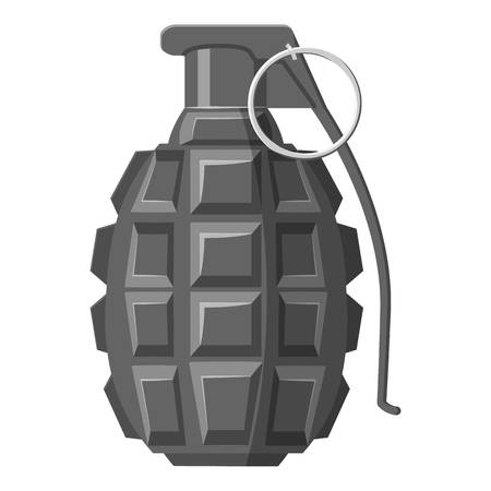 Grenade icon. Gray monochrome illustration of grenade vector icon for web Illustration