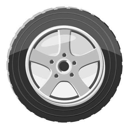 Car wheel icon. Gray monochrome illustration of car wheel vector icon for web