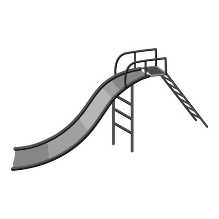 kiddies: Childrens slide icon. Gray monochrome illustration of childrens slide vector icon for web