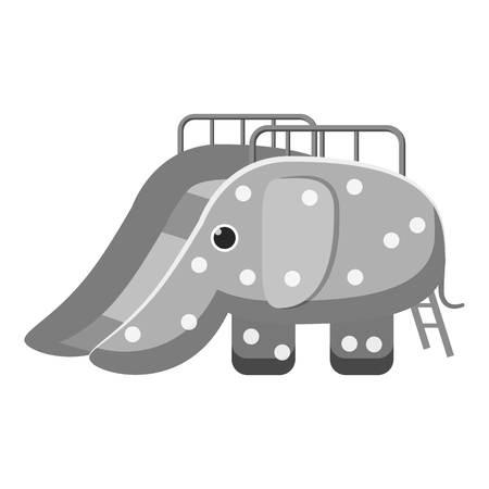 kiddies: Childrens slide elephant icon. Gray monochrome illustration of childrens slide elephant vector icon for web