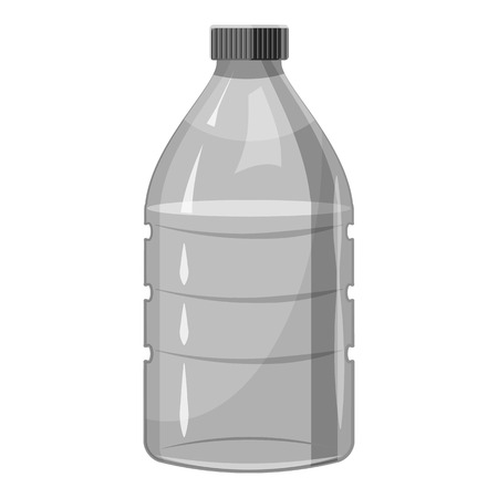 Plastic bottle icon. Gray monochrome illustration of plastic bottle vector icon for web