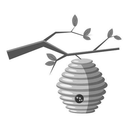 beeswax: Beehive on tree icon. Gray monochrome illustration of beehive on tree vector icon for web Illustration