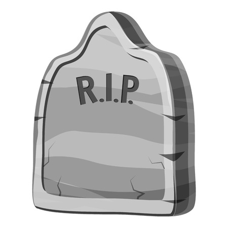 gravestone: Gravestone with RIP text icon. Gray monochrome illustration of gravestone with RIP text cauldron vector icon for web