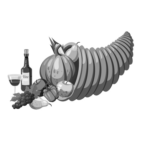 cornucopia: Cornucopia icon. Gray monochrome illustration of cornucopia vector icon for web