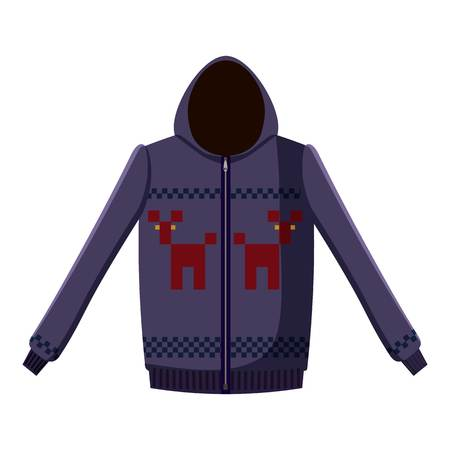 zipper hooded sweatshirt: Sweatshirt with deers icon. Cartoon llustration of sweatshirt with deers vector icon for web Illustration
