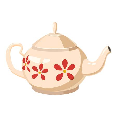 White teapot with red flowers icon. Cartoon llustration of white teapot with red flowers vector icon for web