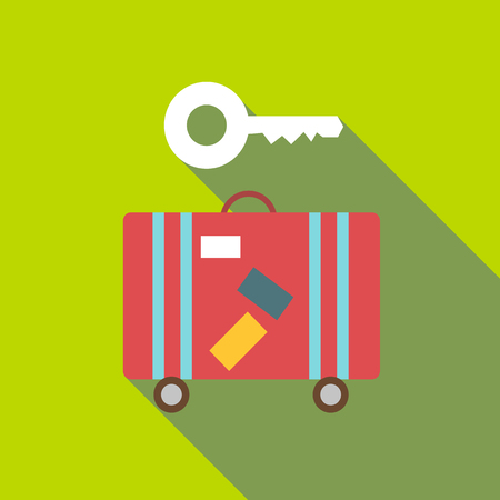 Red suitcase and key icon. Flat illustration of red suitcase and key vector icon for web Illustration