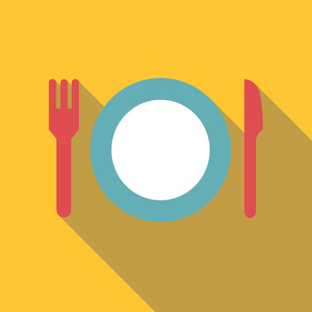 Plate with fork and knife icon. Flat illustration of plate with fork and knife vector icon for web Illustration