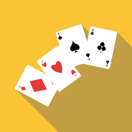 Four aces playing cards icon. Flat illustration of four aces playing cards vector icon for web Illustration