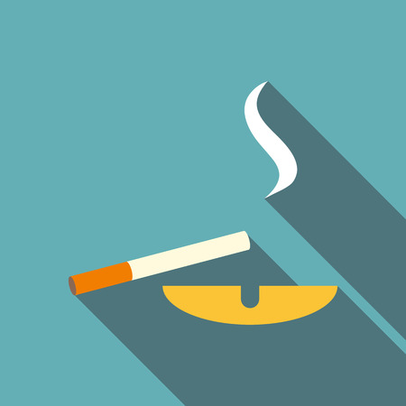 smell of burning: Cigarette and ashtray icon. Flat illustration of cigarette and ashtray vector icon for web Illustration