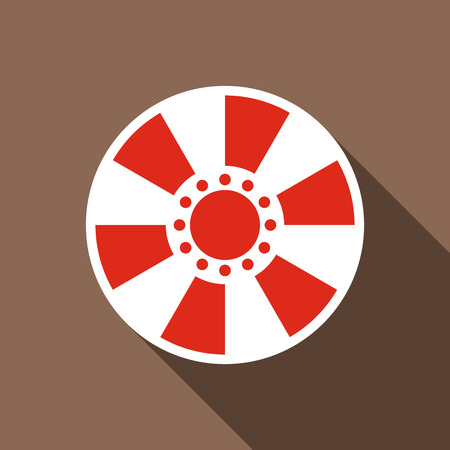 Red casino chip icon. Flat illustration of red casino chip vector icon for web Illustration