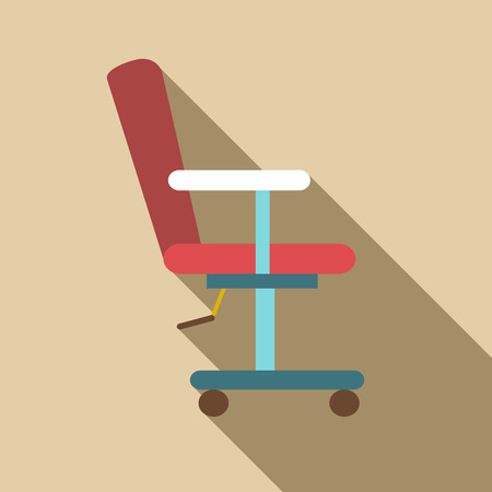 pruning: Red barber chair icon. Flat illustration of red barber chair vector icon for web
