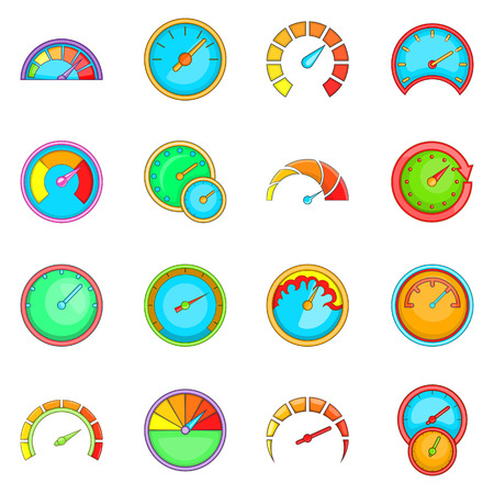 Speedometer icons set. Cartoon illustration of 16 speedometer vector icons for web Vetores