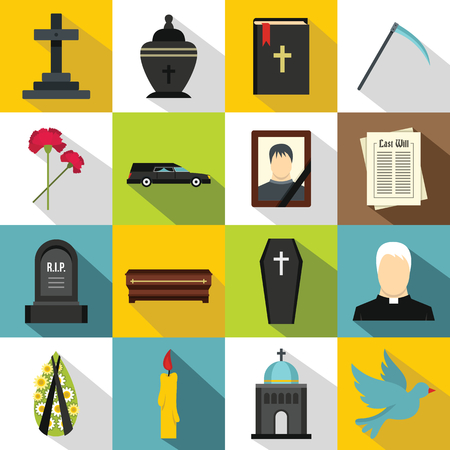 Funeral icons set. Flat illustration of 16 funeral vector icons for web Vectores