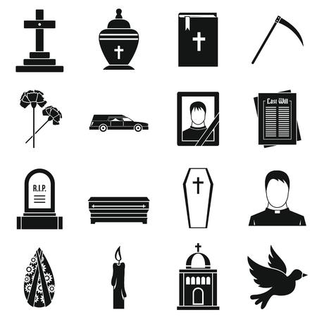 demise: Funeral icons set. Simple illustration of 16 funeral vector icons for web Illustration