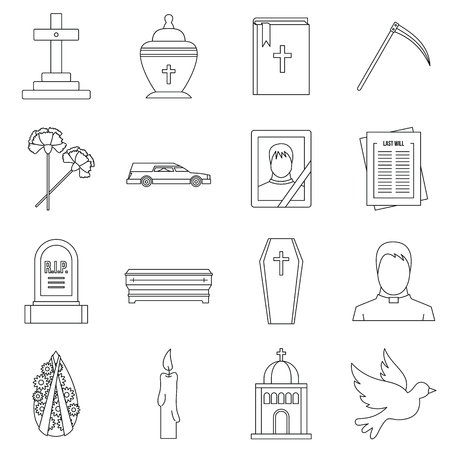 Funeral icons set. Outline illustration of 16 funeral vector icons for web Vectores