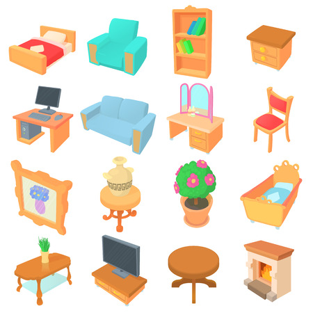 side table: Different furniture icons set. Cartoon illustration of 16 different furniture vector icons for web