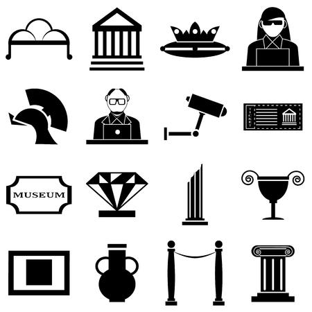 web portal: Museum icons set. Simple illustration of 16 museum vector icons for web Illustration