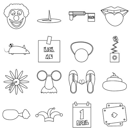 idiot box: April fools day icons set. Outline illustration of 16 April fools day vector icons for web