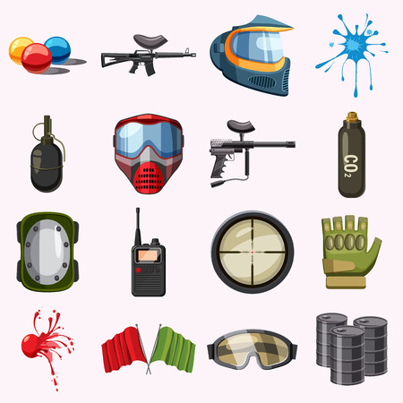 barell: Paintball icons set. Cartoon illustration of 16 paintball vector icons for web