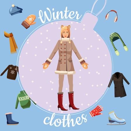 Winter clothes concept. Cartoon illustration of 16 winter clothes vector concept for web Illustration
